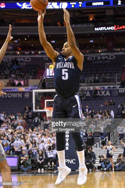 Villanova Wildcats guard Phil Booth scores in the first half on January 17 at the Capital One Arena in Washington DC The Villanova Wildcats defeated...