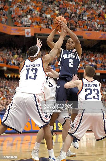 Villanova Wildcats guard Randy Foye takes a shot in traffic during a game against the Syracuse Orange at the Carrier Dome in Syracuse New York on on...