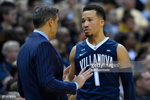 Villanova Wildcats head coach Jay Wright instructs Villanova Wildcats guard Jalen Brunson during the game between the Marquette Golden Eagles and the...