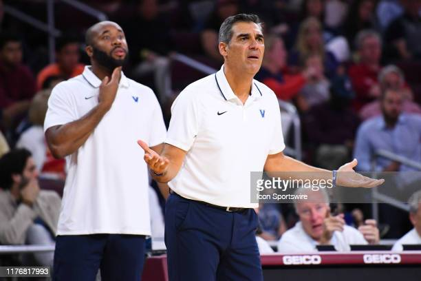 Villanova Wildcats head coach Jay Wright reacts to a call during a college exhibition basketball game between the Villanova Wildcats and the USC...