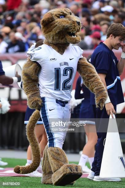Villanova Wildcats mascot Wildcat walks the sideline during a college football game between the Temple Owls and the Villanova Wildcats on September 9...