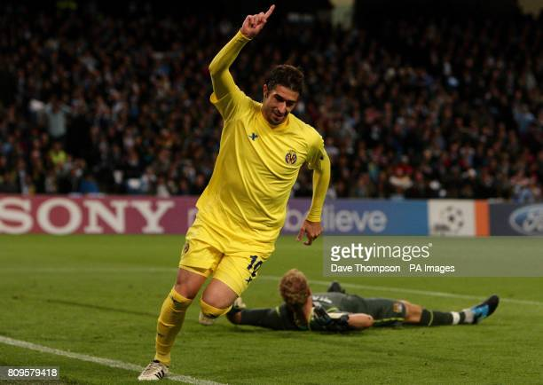 Villareal's Cani celebrates scoring his sides first goal of the game during the UEFA Champions League match at the Etihad Stadium, Manchester.