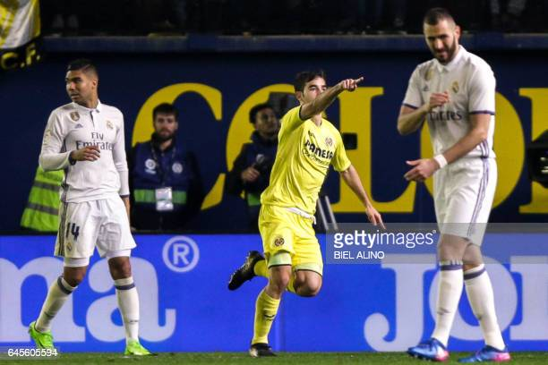 Villareal's midfielder Manuel Trigueros celebrates a goal during the Spanish League football match Villarreal CF vs Real Madrid at El Madrigal...