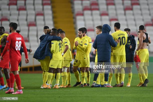 Villareal's players reacts at the end of the UEFA Europa League group I football match between Turkey's Sivasspor and Spain's Villareal at the 4...