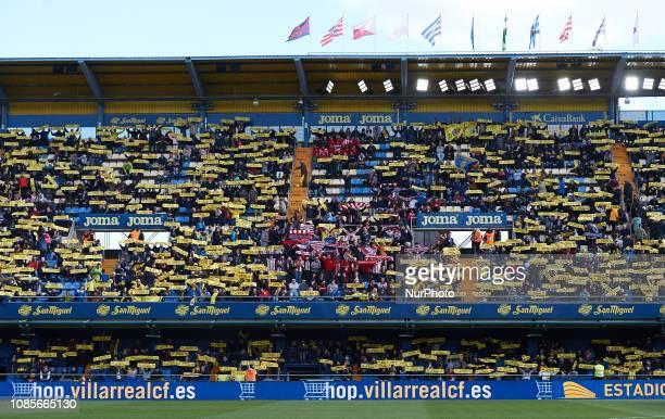 Villarreal and y of Athletic Club de Bilbao fans during the La Liga Santander match between Villarreal and Athletic Club de Bilbao at La Ceramica...