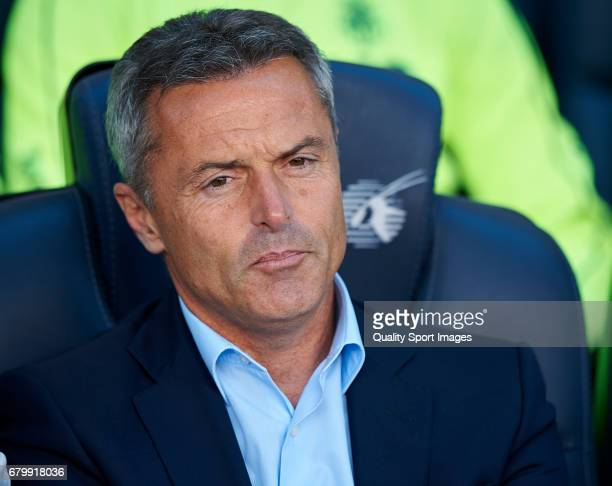 Villarreal CF manager Fran Escriba looks on prior the La Liga match between FC Barcelona and Villarreal CF at Camp Nou Stadium on May 6 2017 in...
