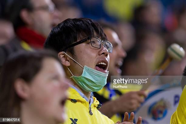 villarreal fan during UEFA Europa League quarterfinals first leg match between Villarreal CF v Sparta Prague at El Madrigal Stadium in Villarreal on...