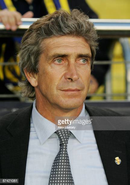 Villarreal Manager Manuel Luis Pellegrini watches on prior to the Champions League Semi Final Second Leg match between Villarreal and Arsenal at the...