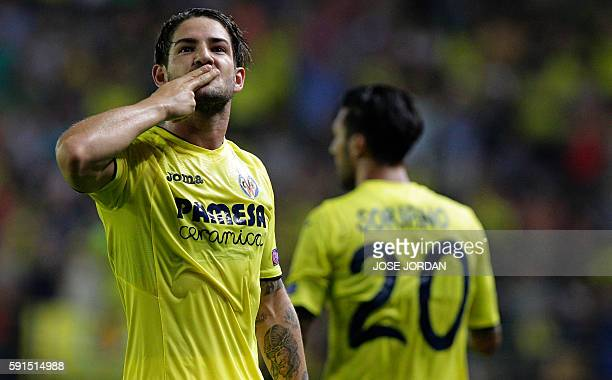 Villarreal's Brazilian forward Alexandre Rodrigues 'Pato' celebrates a goal during the UEFA Champions League first leg play off football match...