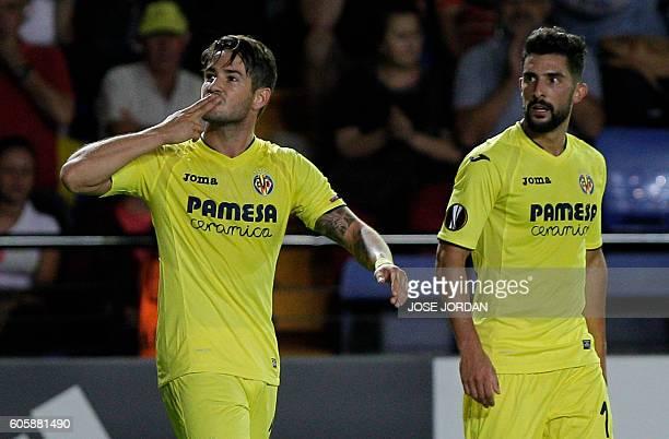 Villarreal's Brazilian forward Alexandre Rodrigues 'Pato' celebrates after scoring during the UEFA Europa League Group L football match Villarreal CF...