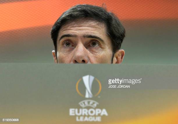 Villarreal's coach Marcelino Garcia Toral speaks during a press conference at the El Madrigal stadium in Vilareal on April 6 2016 on the eve of the...