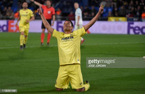 Villarreal's Colombian forward Carlos Bacca celebrates after scoring a goal during the UEFA Europa League round of 16 second leg football match...