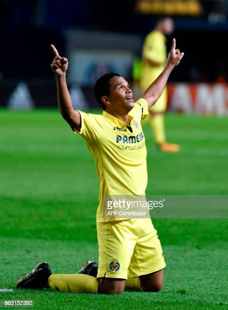 Villarreal's Colombian forward Carlos Bacca celebrates after scoring during the Europa League football match Villarreal CF vs SK Slavia Prague at La...