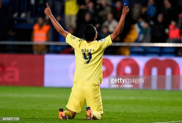 Villarreal's Colombian forward Carlos Bacca celebrates after scoring during the Spanish league football match between Villarreal CF and Athletic Club...