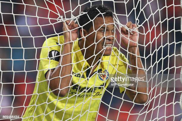 Villarreal's Colombian forward Carlos Bacca reacts after scoring during the UEFA Europa League group A football match Slavia Prague v Villarreal in...