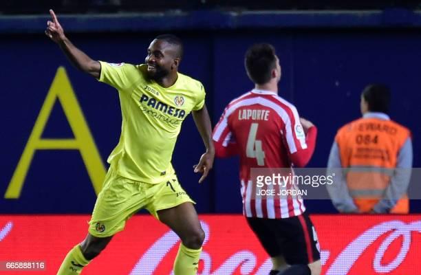 Villarreal's Congolese forward Cedric Bakambu celebrates a goal during the Spanish league football match Villarreal CF vs Athletic Club Bilbao at El...