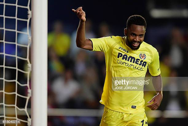 Villarreal's Congolese forward Cedric Bakambu celebrates after scoring during the Spanish league football match Villarreal CF vs RC Celta de Vigo at...