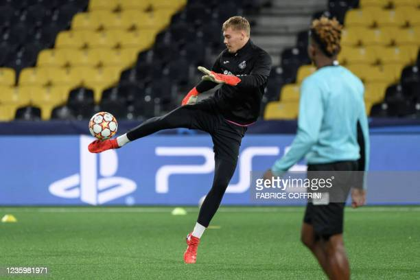 Villarreal's Danish goalkeeper Filip Joergensen controls the ball during a training session on the eve of the UEFA Champions League group F football...