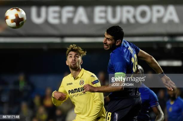 Villarreal's forward Dario Poveda challenges Maccabi Tel Aviv's defender Eytan Tibi during the UEFA Europa League group A football match between...