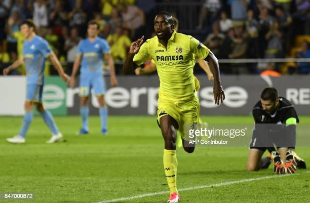 Villarreal's forward from DR Congo Cedric Bakambu celebrates a goal during the Europa League football match Villarreal CF vs FC Astana at La Ceramica...