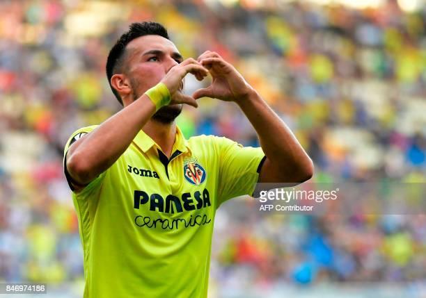 Villarreal's forward from Italy Nicola Sansone celebrates a goal during the Europa League football match Villarreal CF vs FC Astana at La Ceramica...