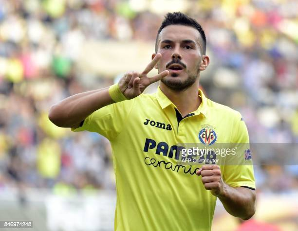 Villarreal's forward from Italy Nicola Sansone celebrates a goal during the Europa League football match Villarreal CF vs FC Astana at La Ceramica...