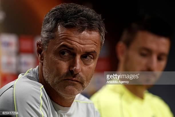 Villarreal's head coach Fran Escriba attends a media conference at the El Madrigal Stadium in Vilareal Spain on November 02 ahead of their UEFA...
