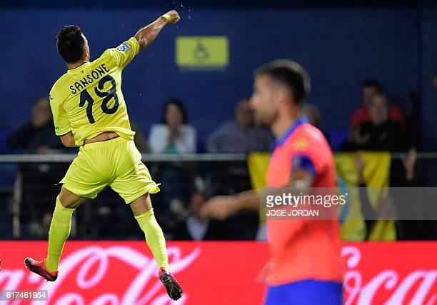 Villarreal's Italian forward Nicola Sansone celebrates a goal during the Spanish league football match between Villarreal CF and UD Las Palmas at El...