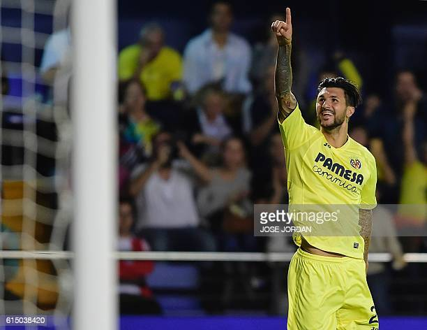 Villarreal's Italian midfielder Roberto Soriano celebrates after scoring during the Spanish league football match Villarreal CF vs RC Celta de Vigo...
