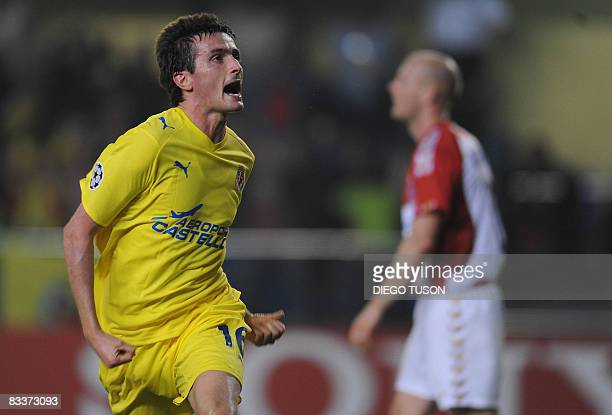 Villarreal's Joseba Llorente celebrates scoring against Aalborg during their group E Champions League football match at the Madrigal Stadium in...