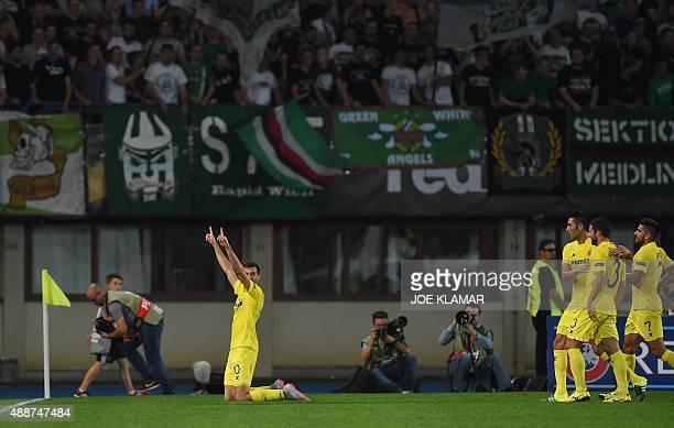 Villarreal's Leo Baptistao celebrates the 01 during the UEFA Europa League Group E football match between SK Rapid Wien and Villarreal CF in Vienna...