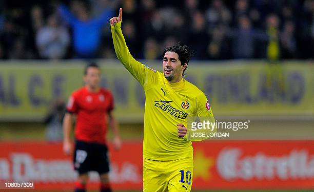 Villarreal's midfielder Cani celebrates his goal during the Spanish league football match Villarreal CF vs Club Atletico Osasuna on January 15, 2011...