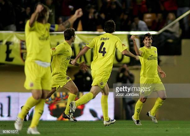 Villarreal's midfielder Cani celebrates scoring against Lazio during their Europe league football match at Madrigal Stadium in Villarreal ,on...