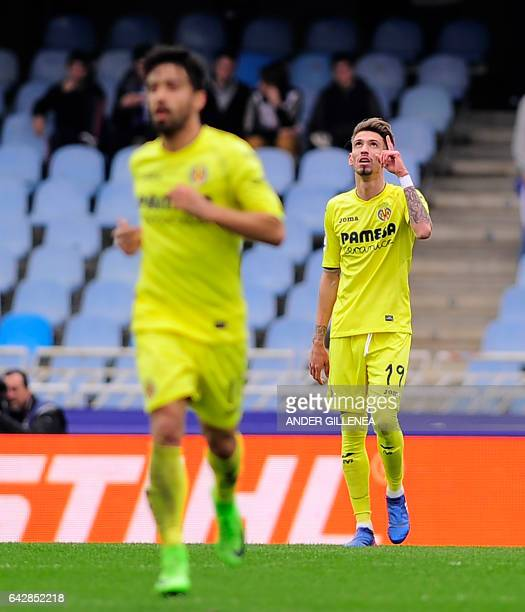 Villarreal's midfielder Samuel Castillejo celebrates after scoring his team's first goal during the Spanish league football match Real Sociedad vs...