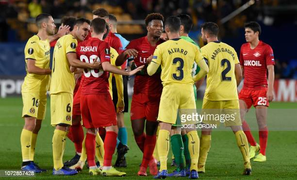 Villarreal's players argue with Spartak Moscow's players during the UEFA Europa League group G football match between Villarreal and Spartak Moscow...