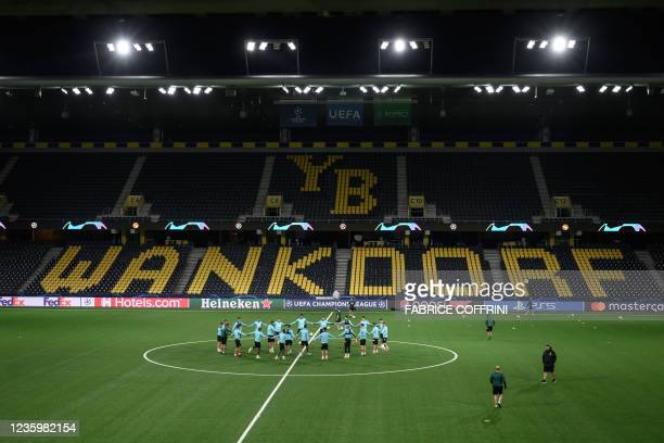 Villarreal's players warm up during a training session on the eve of the UEFA Champions League group F football match between Young Boys and...