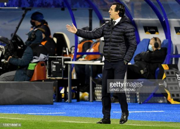 Villarreal's Spanish coach Unai Emery gestures on the sidelines during the UEFA Europa League quarter-final football match between Dinamo Zagreb and...