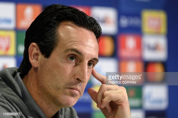 Villarreal's Spanish coach Unai Emery looks on during a press conference on the eve of the UEFA Champions League group F football match between Young...