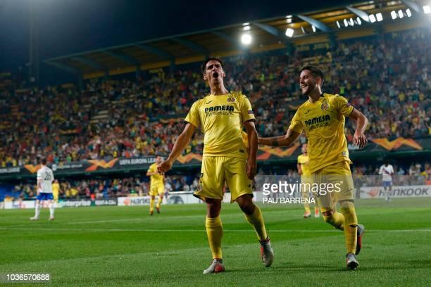 Villarreal's Spanish forward Gerard Moreno celebrates a goal during the UEFA Europa League group G football match between Villarreal CF and Rangers...