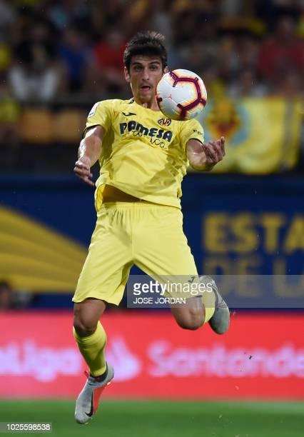 Villarreal's Spanish Forward Gerard Moreno controls the ball during the Spanish league football match between Villarreal and Girona at La Ceramica...
