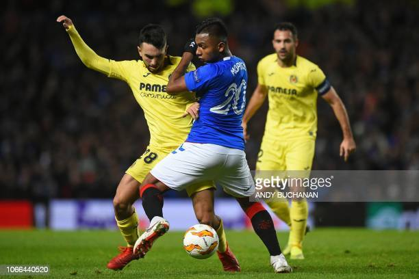 Villarreal's Spanish midfielder Manu Morlanes vies with Rangers' Colombian forward Alfredo Morelos during the UEFA Europa League Group G football...