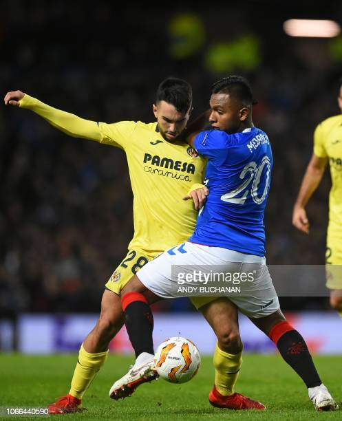 Villarreal's Spanish midfielder Manu Morlanes vies with Rangers' Colombian striker Alfredo Morelos during the UEFA Europa League Group G football...
