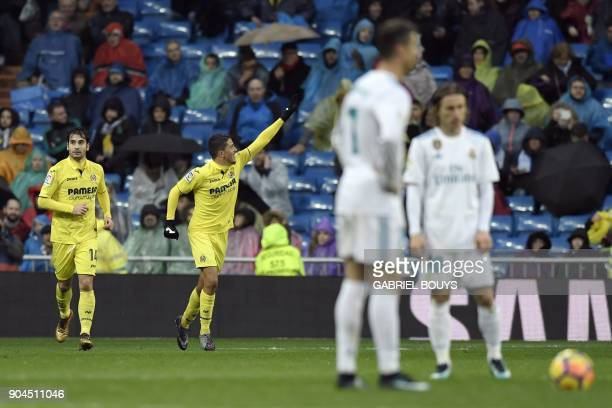 Villarreal's Spanish midfielder Pablo Fornals celebrates after scoring a goal during the Spanish league football match between Real Madrid and...