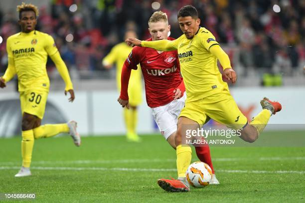 Villarreal's Spanish midfielder Pablo Fornals shoots to score a goal during the UEFA Europa League group G football match between FC Spartak Moscow...