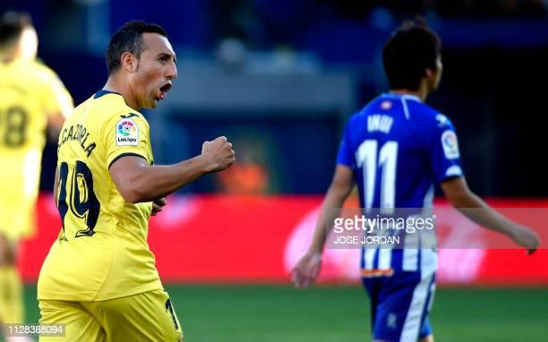 Villarreal's Spanish midfielder Santi Cazorla celebrates a goal during the Spanish league football match between Villarreal CF and Deportivo Alaves...