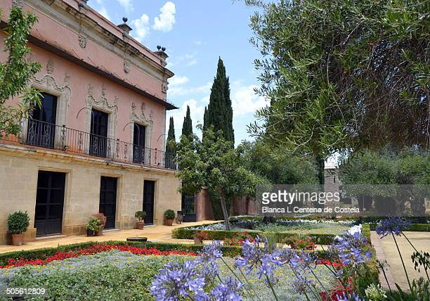 Villavicencio Palace and gardens in the Real Alcazar of Jerez de La Frontera in Cadiz, Spain. The Alcazar of Jerez was built in the twelfth century...