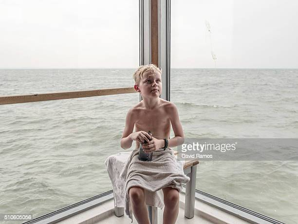 Ville Bergquist 9 poses for a picture inside the sauna of the Saltsjobad Baths on February 6 2016 in Bjarred Sweden Last year Sweden received 162877...
