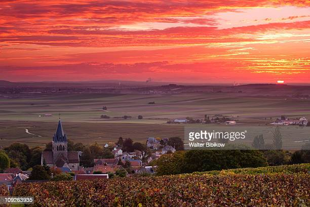 ville dommange, town overview, sunrise - marne stock pictures, royalty-free photos & images