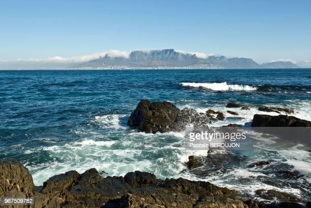 Ville du Cap et de la montagne de la Table depuis les rochers de Robben island 13 mars 2012 à 69 km au large a l'ouest de Cap Town Afrique du Sud