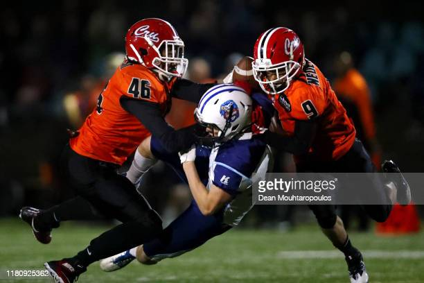 Ville Karhinen of Finalnd catches the ball in front of Shaquille Peters of the Netherlands during the IFAF 2020 European Championship Qualification...
